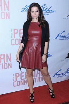 Sofia Mattson attends The Persian Connection Premiere in red leather skater dress