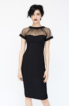 Main Image - Maggy London Illusion Yoke Crepe Sheath Dress (Regular & Petite)