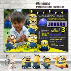 Minion Invitation,Minion Birthday Invitation,Minion Birthday Party Invitations,Minions,1st Birthday,2nd Birthday,3rd Birthday,Minions by OhhLaLaTresChic on Etsy