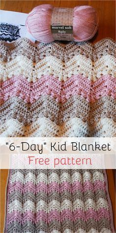 6-Day Kid Blanket - Free pattern! #freepattern #crochet #crochetpattern #yarn
