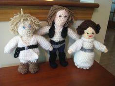 Luke Skywalker, Han Solo and Princess Leia sponge stuffed toys Han Solo, Luke Skywalker, Princess Leia, Stuffed Toys, Teddy Bear, Christmas Ornaments, Holiday Decor, Crochet, Animals