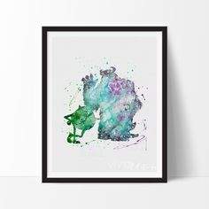 Mike & Sulley Watercolor Art. This art illustration is a composition of digital watercolor images and silhouettes in a minimalist style.