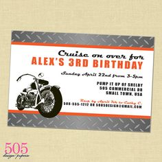 Printable Motorcycle Invitation by 505 Design by 505design on Etsy, $12.50