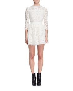 Alexander McQueen 3/4-Sleeve Floral-Lace Dress, Ivory