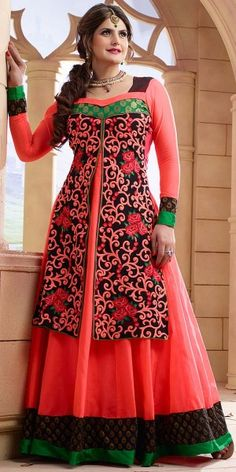 Teriffic Peach And Green Georgette Anarkali Suit With Dupatta
