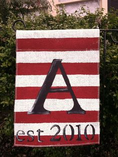 Burlap Garden Flag With Horizontal Stripes And By ModernRusticGirl, $22.00