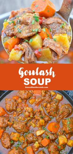 Goulash Soup (One Pot Comfort Food!) - - This goulash soup recipe is a simple one-pot meal that tastes like you spent all day in the kitchen. Perfect comfort food for cold weather! Goulash Soup Recipes, Crockpot Recipes, Healthy Recipes, Steak And Potato Soup, Stewed Potatoes, Lentil Stew, Slow Cooker Beef, One Pot Meals, Soups And Stews