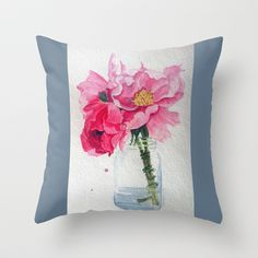 Peonies... water color Throw Pillow