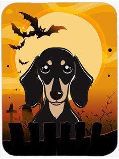 Halloween Smooth Black and Tan Dachshund Glass Cutting Board Large BB1773LCB
