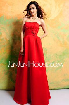 A-Line/Princess Strapless Floor-Length Satin Bridesmaid Dresses With Ruffle (007000935)