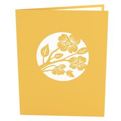 Lovers in a Dogwood Tree Yellow pop up card - thumbnail