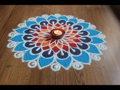 Simple , Easy and Quick freehand Rangoli designs with colours/ Rangoli Designs by Shital Daga Simple Rangoli Designs Images, Rangoli Designs Flower, Small Rangoli Design, Rangoli Ideas, Colorful Rangoli Designs, Rangoli Designs Diwali, Flower Rangoli, Beautiful Rangoli Designs, Easy Rangoli