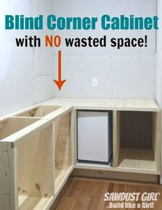 Build a blind corner cabinet with NO wasted space! Plan and tutorial from https://sawdustgirl.com.