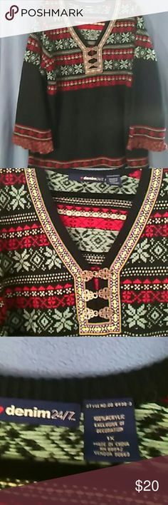 Red,green, black plus size sweater Plus size 1X sweater. Very seasonal...winter...very cute, very comfy and warm. Denim 24/7 Sweaters