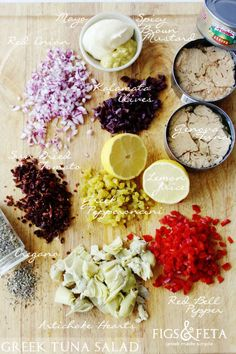 Ingredients for Greek Tuna Salad. figsandfeta.com
