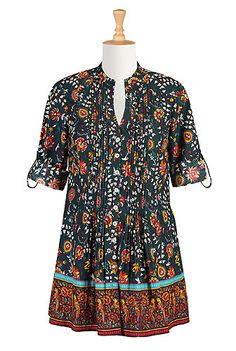 I <3 this Floral ethnic vine print tunic shirt from eShakti.  **I bought this one and I really like it.**