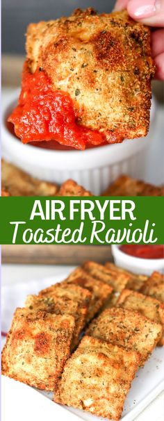 These crispy delicious toasted ravioli are a delicious appetizer or meal. This easy air fryer recipes takes all the guilt away from the toasted ravioli! Air Fryer Oven Recipes, Air Frier Recipes, Air Fryer Dinner Recipes, Easy Oven Recipes, Yummy Appetizers, Appetizer Recipes, Toasted Ravioli, Baked Ravioli, Air Fried Food