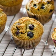 blueberry paleo muffins - made with almond flour and honey #glutenfree #paleo #grainfree