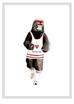 I Love Running Ape - Limited Edition A3 print