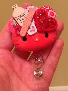 NEW! Healing Hearts Nurse Hello Kitty Id Retractable Badge Holder by EvezBeadz - Accessories on ArtFire.com