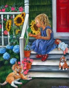 A Summer Kiss ~ Tricia Reilly Matthews Happy Birthday Little Girl, Canvas Artwork, Canvas Prints, 300 Piece Puzzles, Illustration Art, Illustrations, Playing Dress Up, Online Art, Art For Kids