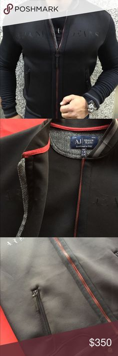 Armani Jeans Men's Jacket Featuring;   The logo at the chest (Armani Jeans) Baseball collar Zipper closure Two hand pockets at front Cotton/polyester Machine washable Imported Armani Jeans Jackets & Coats Lightweight & Shirt Jackets