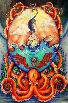 Cat and octopus Octopus Tentacles, Octopus Art, Cthulhu, Art Fantaisiste, Octopus Tattoo Design, Steampunk Design, Art Et Illustration, Illustrations, Found Art