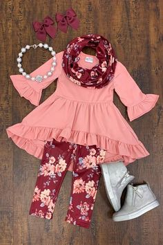 Our boutique kids outfits are perfect for any and everyday wear! These kids clothing sets keep your child in fashion every season. Little Girl Outfits, Kids Outfits Girls, Little Girl Fashion, Toddler Outfits, Kids Fashion, Fashion Wear, Fashion Clothes, Baby Kids Clothes, Kids Clothing