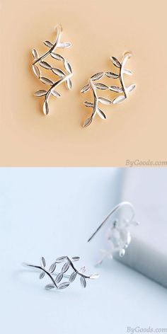 Fresh Silver Leaf Sweet Leaves Drop Earrings for big sale ! #leaves #leaf #sweet #earring #drop #cute