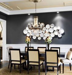 Dining room decoration ideas photos how to push dining table against wall dining rooms living room wall decor dining room wall decor ideas that will 25 modern dining room decorating. Dining Room Paint, Dining Room Colors, Dining Room Wall Decor, Dining Room Design, Dark Grey Dining Room, Grey Room, Dining Nook, Design Room, Dining Sets