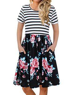 ffd1529a6a34d FANVOOK Women's Short Sleeve Patchwok Floral Dress Dresses with Pockets