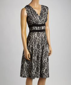 Another great find on #zulily! Black & Ivory Floral Sleeveless Dress by AA Studio #zulilyfinds