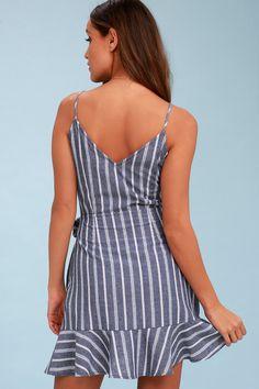 Voyage Blue and White Striped Wrap Dress 4