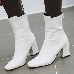 Patent Leather Cotton Non-Slip Rubber Women's Zipper Red White Black Fall Winter Casual Low Heel 5 inch or higher Pumps Heels 35 36 37 38 39 40 41 42 43 Shoes Casual Heels, Casual Boots, Low Heels, Wedge Heels, Pumps Heels, On Shoes, Shoe Boots, Women's Boots, Sequin Shoes