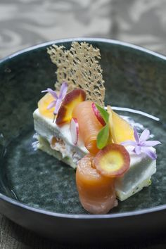 Goat cheese starter with smoked salmon