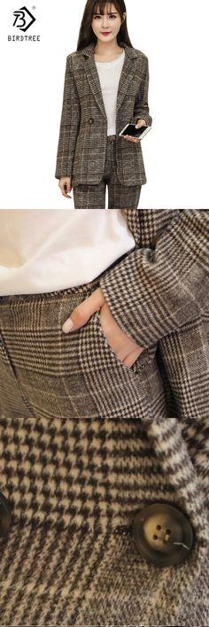 New 2018 Work Pant Suits 2 Piece Sets Double Breasted Plaid Blazer Jackets & Zipper Pants Office Lady Suit Women Outfits S7D329L