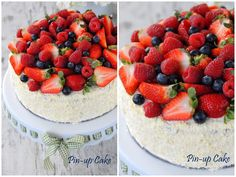 Strawberry Cake with Meringue Buttercream and Fresh Fruits