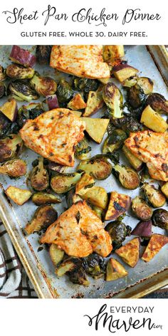 Sheet Pan Chicken Dinner with Brussels Sprouts and Sweet Potatoes. An easy and delicious Fall dinner made on one sheet pan in just under an hour! via @EverydayMaven
