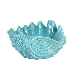 Blue Ceramic Seashell Urban Trends Collection Figurines Decorative Accessories Home Decor