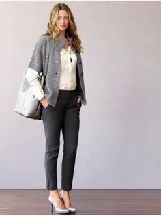 Banana Republic outfit - like the short-sleeve cardigan with the long-sleeve blouse and the slim flannel pants