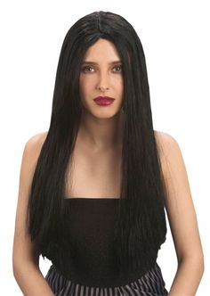 Peruca preta Halloween para mulher