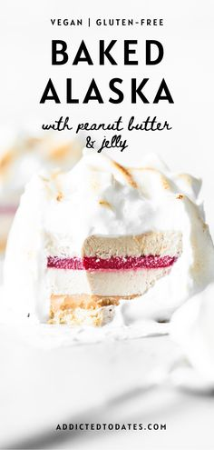 "Perhaps best named ""un-baked Alaska"", it consists of layers of no-bake shortbread, creamy vegan ice cream, peanut butter, jelly and toasted meringue. Gluten Free Baking, Vegan Baking, What Is Baking, Coconut Milk Uses, Strawberry Jelly, Baked Alaska, Aquafaba, Cake Fillings, Classic Desserts"