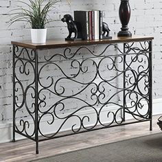 Convenience Concepts Wyoming Metal and Wood Console Black Antiqued Finish ** To view further for this item, visit the image link.Note:It is affiliate link to Amazon.