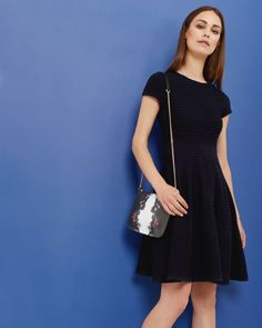 Knitted skater dress - Navy | Dresses | Ted Baker UK