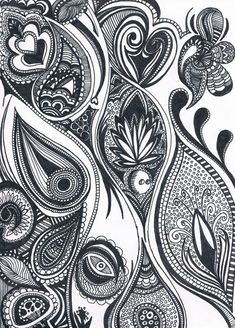 Zentangle paisley feather --- I love the little spotted cupcake :) #Arts Design