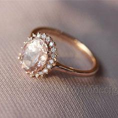Fancy Morganite and Full Cut Natural Diamonds Rose Gold Wedding Ring, Beautiful Gemstone Engagement Ring