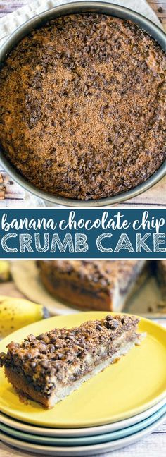 Banana Chocolate Chip Crumb Cake: extra moist banana cake with two layers of chocolate cinnamon streusel.  A guaranteed hit for breakfast, brunch, or dessert!  {Bunsen Burner Bakery} via @bnsnbrnrbakery