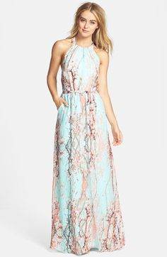 Free shipping and returns on Jessica Simpson Print Chiffon Halter Maxi Dress at Nordstrom.com. A gorgeous cherry blossom print brings a breath of springtime to a lovely chiffon maxi dress. A halter collar suspends the gathered bodice and a slim tie defines the waist for the fluid, flattering style.