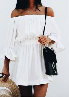Cute white off the shoulder dress.