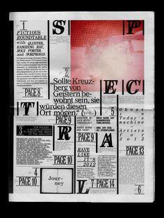 Spezialausgabe des Magazins «Zweikommasieben» zum Anlass des CTM Festivals in Berlin unter dem Thema «Spektral», Luzern;<br> 16 Seiten, 289 x 380 mm, 2012